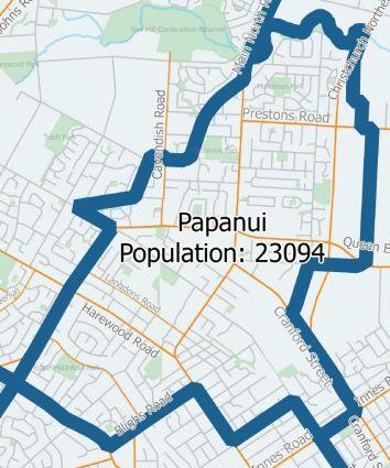 CCC Papanui Ward map 2016
